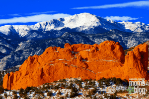 Pikes Peak in Winter with Garden of the Gods