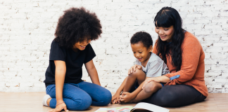 mom and kids reading